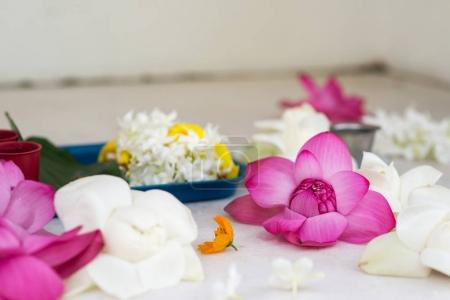 Photo for Messy beautiful flowers composition in buddha temple - Royalty Free Image