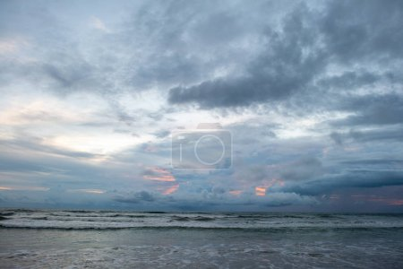 Photo for Beautiful seascape on cloudy evening with stormy waves - Royalty Free Image