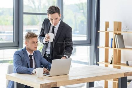 Two businessmen discussing project by laptop in modern office