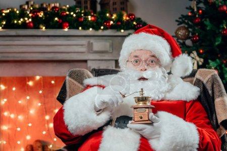 santa claus with coffee grinder
