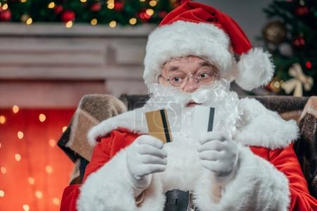 santa claus with credit cards