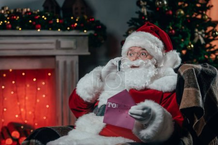 santa talking on smartphone