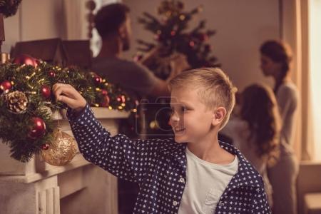 Smiling preteen boy on christmas