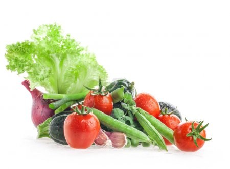 Photo for Different fresh vegetables isolated on white - Royalty Free Image