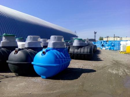 Septic tanks and other storage tanks at the manufacturer depot