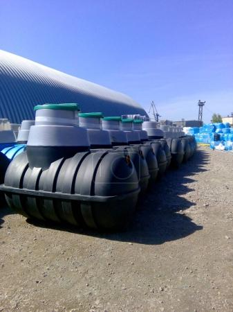 Septic tanks storage at the manufacturer factory ready for sale
