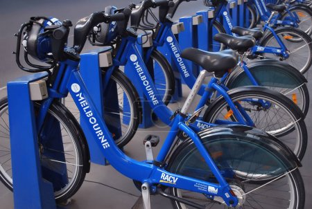Row of Melbourne share bikes