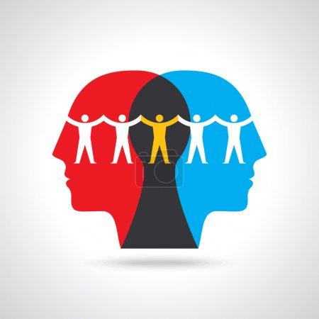 Illustration for Human head thinking Teamwork idea for business - Royalty Free Image