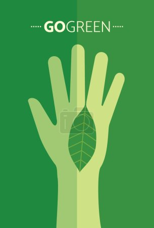 Ecological symbols and sign with human's hands.