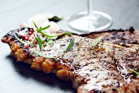 Steak with glass of wine