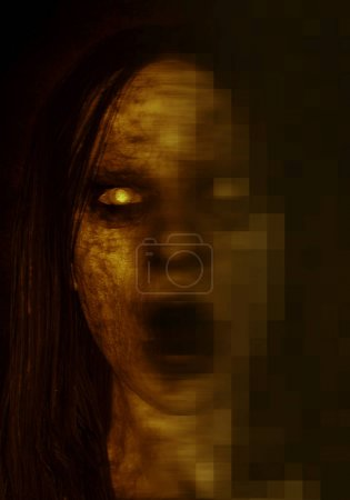 3d illustration of scary ghost woman in the dark ,...