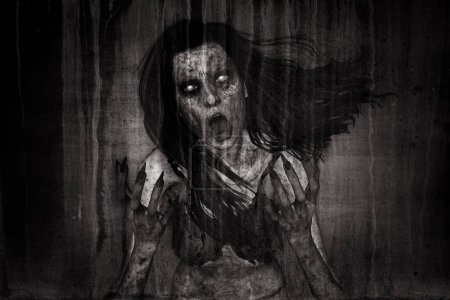 3d illustration of scary ghost woman moaning in th...