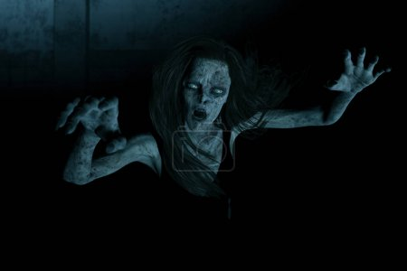 3d illustration,Scary ghost woman in the dark,Horr...