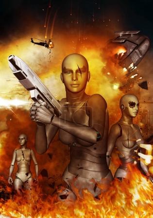 Photo pour Robots Apocalypse, 3d illustration concept arrière-plan - image libre de droit