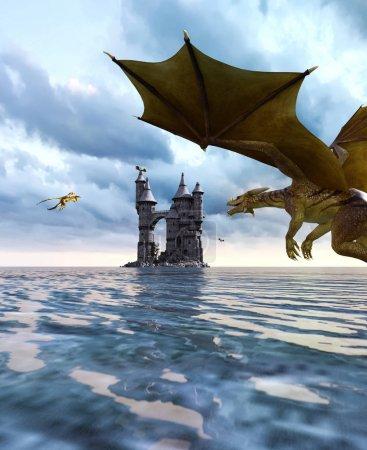 Photo pour Dragon de fantasy 3D dans l'île mythique, conte de fées fantastique de monstre marin, rendu 3d pour la couverture du livre ou l'illustration du livre - image libre de droit