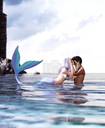 Photo pour Une histoire d'amour entre l'homme et une sirène, sirène de Fantasy 3d en mer mythique, conte de fées fantastique d'une nymphe de la mer, l'illustration 3d pour la couverture du livre ou l'illustration du livre en mer - image libre de droit