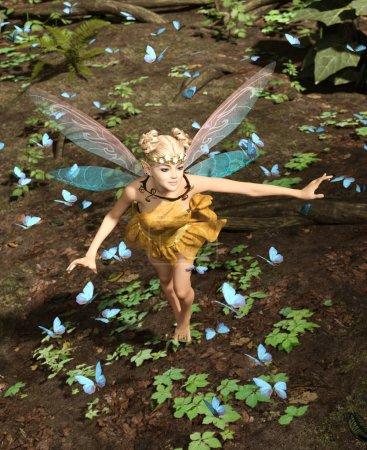 Photo pour 3d rendu d'une fée volant dans une forêt magique entourée de papillons volants - image libre de droit