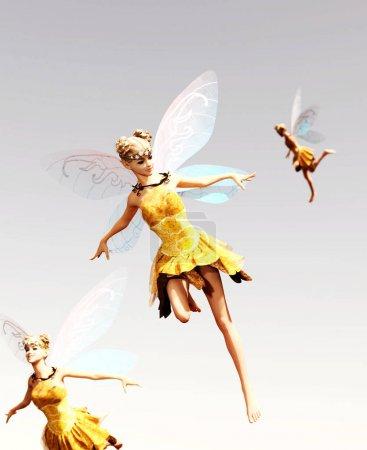 Photo pour 3d rendu d'une fée volant sur le ciel - image libre de droit