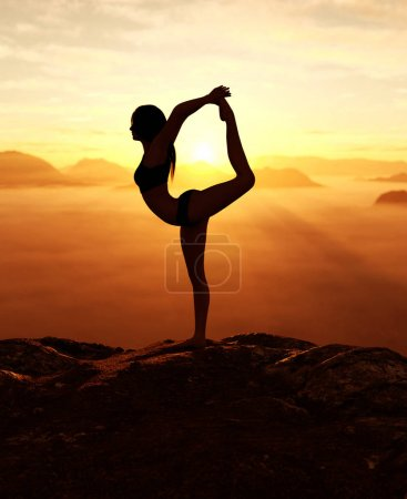Photo for 3d rendering of Woman doing yoga and meditates on the mountain - Royalty Free Image