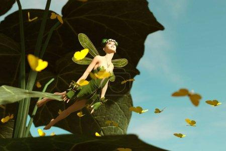 Photo pour 3d rendu d'une fée heureuse volant hors d'une grande feuille verte et entouré de papillons de troupeau - image libre de droit