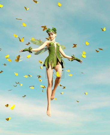 Photo pour 3d rendu d'une fée volant sur le ciel entouré de papillons de troupeau - image libre de droit