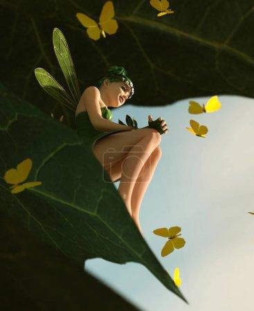Photo pour 3d rendu d'une fée heureuse assise sur une grande feuille verte et entourée de papillons de troupeau - image libre de droit