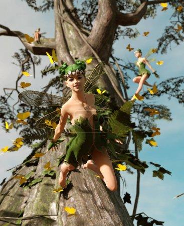 Photo pour 3d rendu d'une fée heureuse volant sur un arbre entouré de papillons de troupeau - image libre de droit