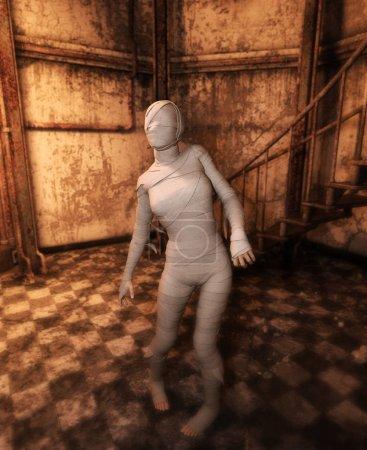 Photo pour Momie Halloween dans la maison hantée ou une femme avec des bandages sur lui dans un bâtiment abandonné, illustration 3d - image libre de droit