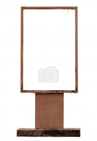 old signboard isolated on white with clipping path