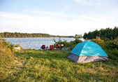 summer lake view with tent