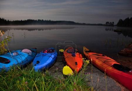 kayaking adventure at nighttime