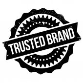 Trusted brand stamp Grunge design with dust scratches Effects can be easily removed for a clean crisp look Color is easily changed