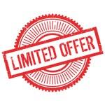 Limited offer stamp. Grunge design with dust scrat...