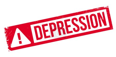 Depression rubber stamp. Grunge design with dust s...