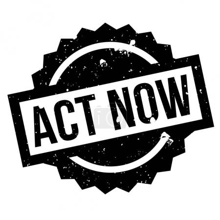Act Now rubber stamp. Grunge design with dust scra...