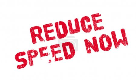 Illustration for Reduce Speed Now rubber stamp. Grunge design with dust scratches. Effects can be easily removed for a clean, crisp look. Color is easily changed. - Royalty Free Image
