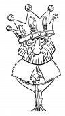 Cartoon image of king with huge crown An artistic freehand picture