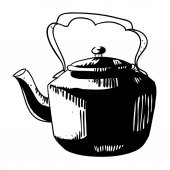 Cartoon image of old black kettle An artistic freehand picture