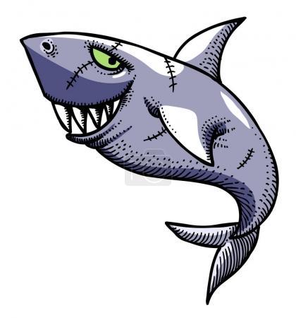 Cartoon image of shark. An artistic freehand pictu...