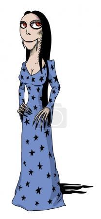 Illustration pour Image de dessin animé de vampire fille. Une image artistique à main levée . - image libre de droit