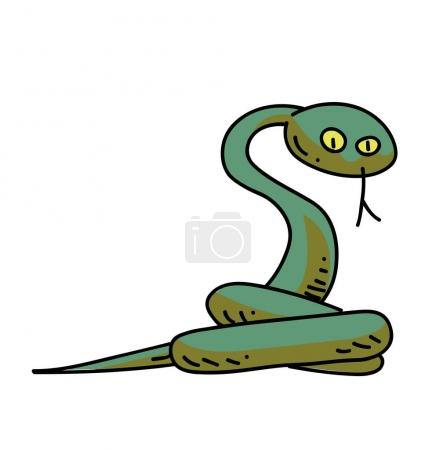 Snake cartoon hand drawn image. Original colorful ...
