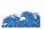Blue wave Japanese stylesea