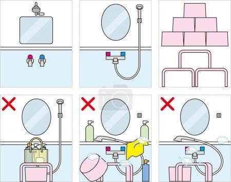 Bains publics japonais. Manières de bain et étiquette .