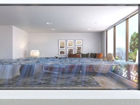 Photo for Interior of the house flooded with water. 3d illustration - Royalty Free Image