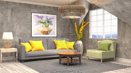 Interior living room. 3d illustration