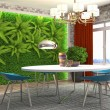 Interior dining area. 3d illustration...