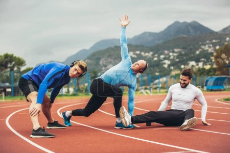young men stretching out