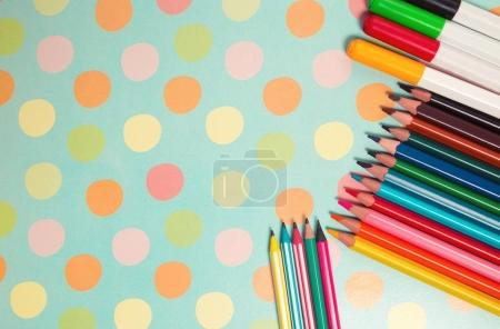 School and office supplies frame. Back to school concept. School background