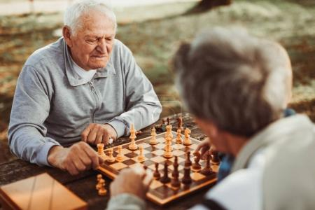 active retired senior men having fun and playing chess in park