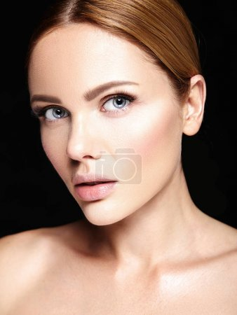 Photo for Sensual glamour portrait of beautiful woman model with no makeup and clean healthy skin on black background - Royalty Free Image